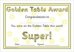 Certificate Template golden table award certificates sb6122 sparklebox