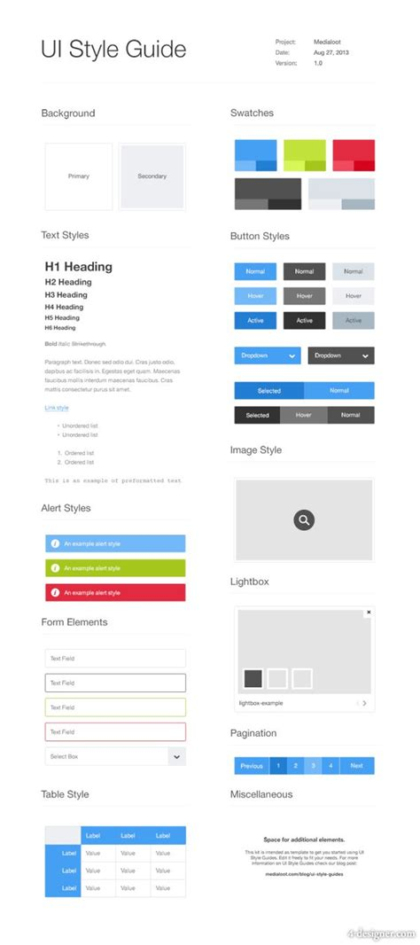 4 designer ui style guide template