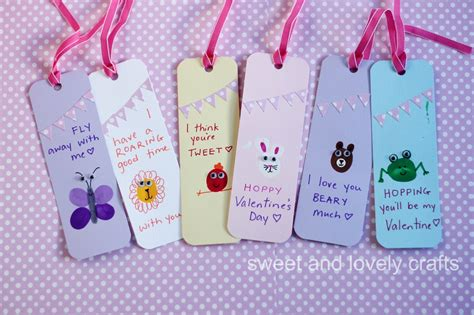 valentines bookmarks sweet and lovely crafts thumbprint day bookmarks