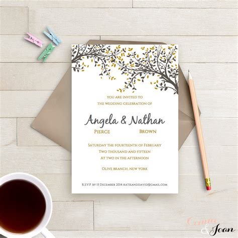 single photo page diy diy printable wedding invitation template black gold leaves