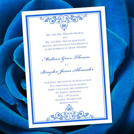 wedding invitation editable templates royal blue wedding invitation template editable microsoft