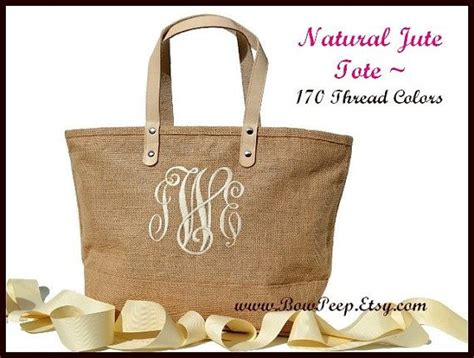 Monogramme Toto by 21 Monogrammed Color Jute Tote Bag