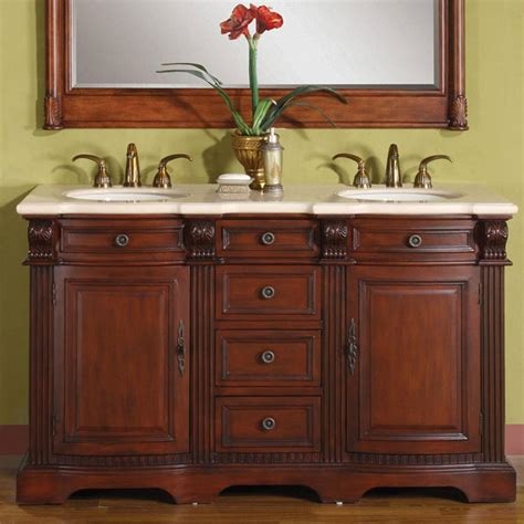 58 double vanity 58 quot double cream marfil marble top under