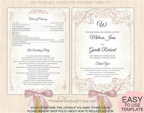vintage wedding program templates blush pink fan wedding program template wedding program