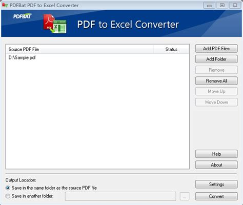 converter pdf to excel pdfbat pdf to excel converter full windows 7 screenshot