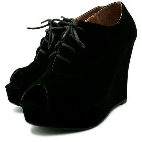 wedge heel platform ankle peep toe lace up shoe boots