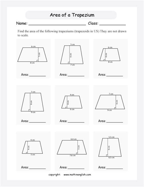 free printable area of trapezoid worksheets calculate the area of trapeziums trapezoids in the us by