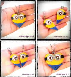 Items similar to minion heart charm chibi necklace in polymer clay