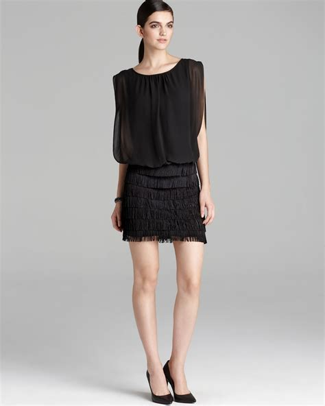 Skirted Dresses by Aidan Mattox Chiffon Blouson Fringe Skirt Dress In Black