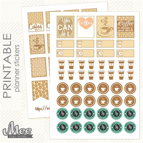 coffee planner stickers printable coffee planner stickersprintable planner by meedigiscrap