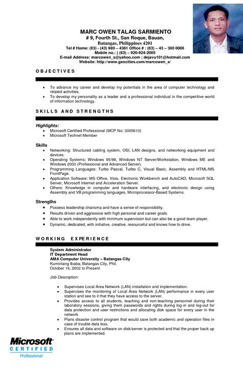 Resume Sle For Accounting Students With No Experience Accounting Resumes Free Sle Entry Level Mechanical Engineering Resume For Ojt Students Sle