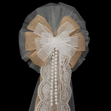 Wedding Aisle Bows by White Sheer Burlap Wedding Bows With Lace And Pearls