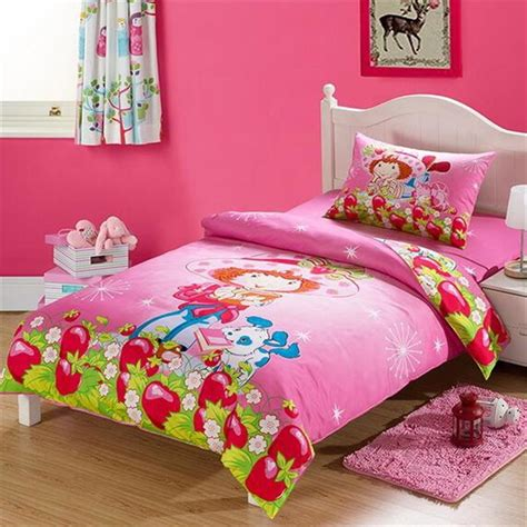 best fabric for bed sheets summer cotton bedsheets strawberry shortcake pink cartoon bedding sets twin size