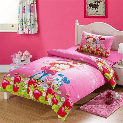Strawberry Shortcake Pink Cartoon Bedding Sets Twin Size Strawberry Shortcake Toddler Bedding Set