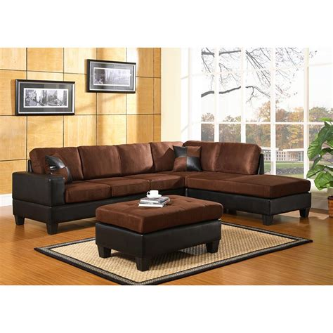 Brown Sectional Sofa Microfiber Home Decorators Collection Gordon 3 Brown Bonded Leather Sectional 8061000760 The Home Depot
