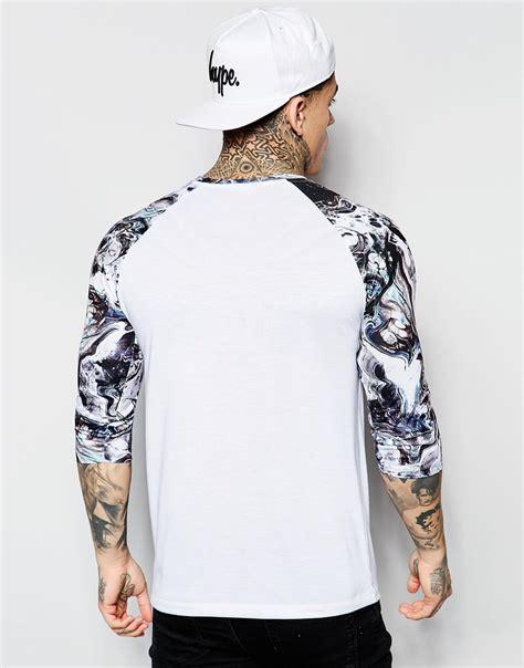 print sleeve raglan t shirt hype 3 4 sleeve raglan t shirt with marble print sleeve in