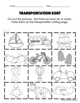 freebie transportation cut and paste activity by a