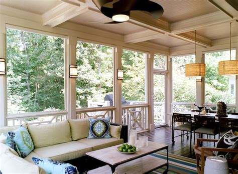 decks patios screened in porch dining area pendants