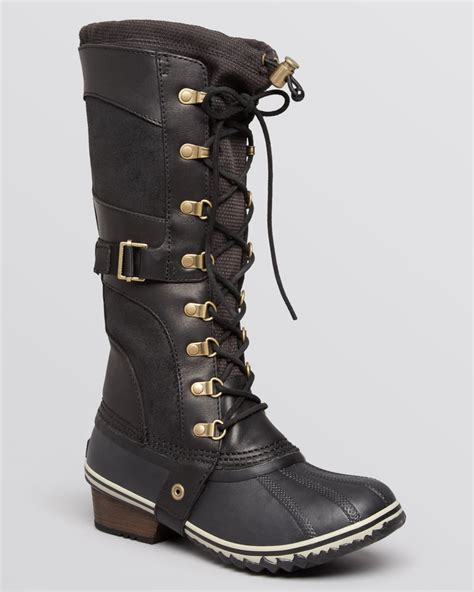 cold weather work boots work boots for the cold sorel conquest carly lace up cold weather boots in black