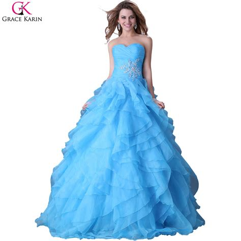 blue puffy prom dress sweetheart grace karin strapless organza red blue yellow