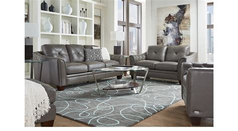 cindy crawford living room sets 2 177 00 marcella gray leather 3 pc living room