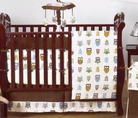 unique designer brown blue neutral owl theme 9pc baby boy