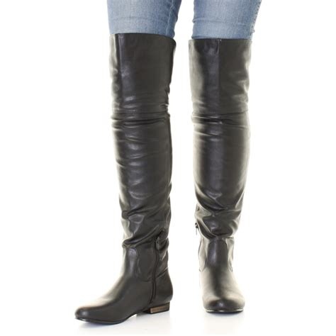 thigh high flat leather boots boot yc