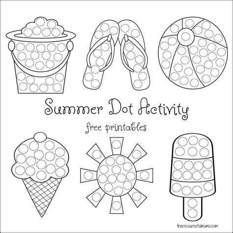Summer Dot Activity Free Printables The Resourceful Mama Painting Sheets