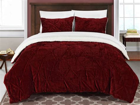 sherpa lined comforter josepha 7 piece pinch pleated ruffled and pin tuck sherpa