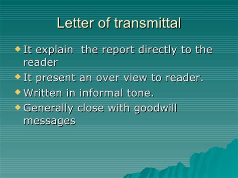 Transmittal Letter Que Es Components Of Formal Report