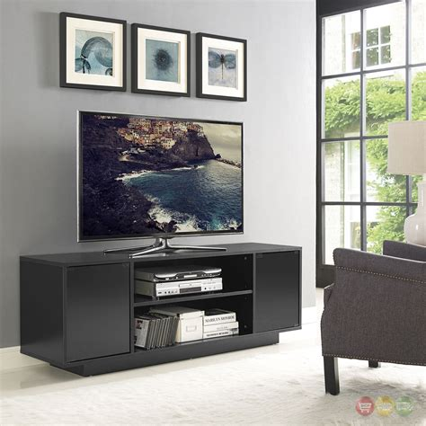 Black Tv Stand With Glass Doors Portal Contemporary 60 Quot Tv Stand With Glass Doors Shelving Black Ebay