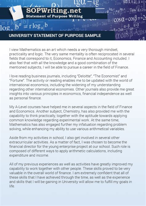Usc Mba Essay Exle by Sle Statement Of Purpose For Application