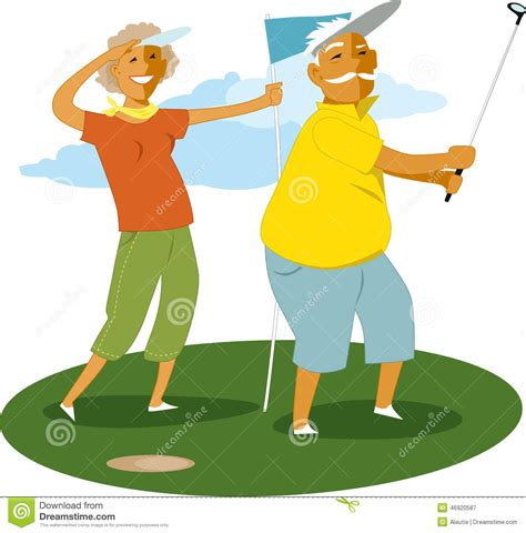 cartoon golf swing senior couple playing golf stock vector image of
