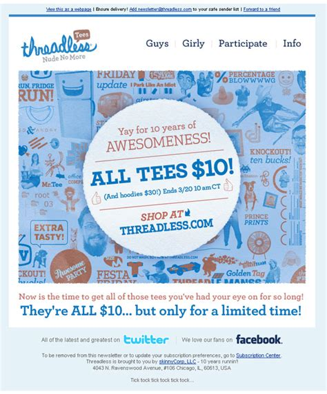 Threadless 10 Sale by Threadless 10 Sale Email Email Design Review