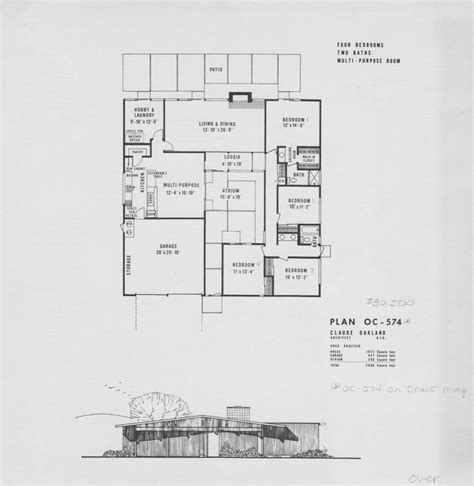 the oc house floor plan eichler plan oc 574 design floor plans pinterest