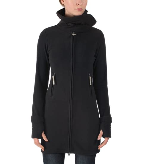 bench zip up bench long neck zip up fleece jacket in black lyst