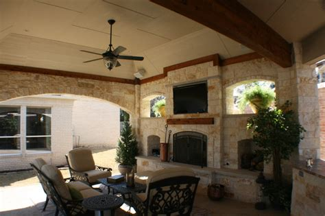 covered patio with fireplace fort worth covered patio with pergola outdoor kitchen and
