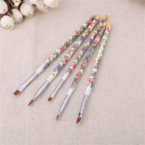 Sale Pisau Keramik Set 5 Pcs sale nail brushes fashion new 5pcs set nail wood uv gel salon pen flat brush kit dotting
