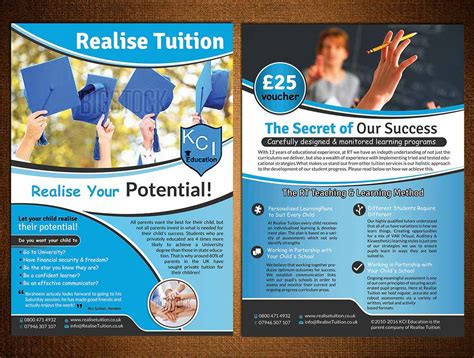 leaflet design for tuition upmarket playful flyer design for realise tuition by