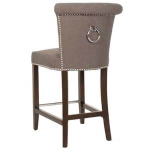 Bar Stools With Nailhead Trim Villa Button Tufted Fabric And Birch Solids Counter