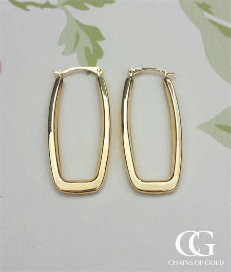 9ct yellow gold rectangular creole hoop earrings ebay