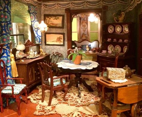 big blue victorian dollhouse formal dining room