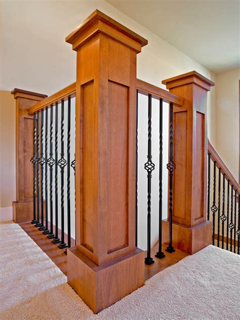 Wrought Iron Banister Spindles Craftsman Style Post And Rails With Wrought Iron Spindles