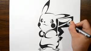 drawing pikachu in a tribal tattoo design style youtube