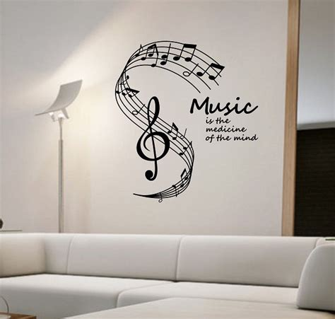 music decals for bedroom music notes wall decal medicine of the mind vinyl sticker art decor bedroom design