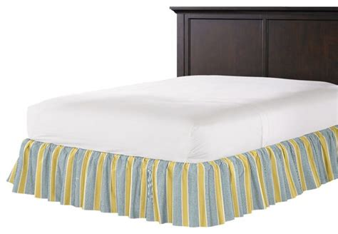 teal bed skirt teal and yellow stripe ruffle bed skirt contemporary