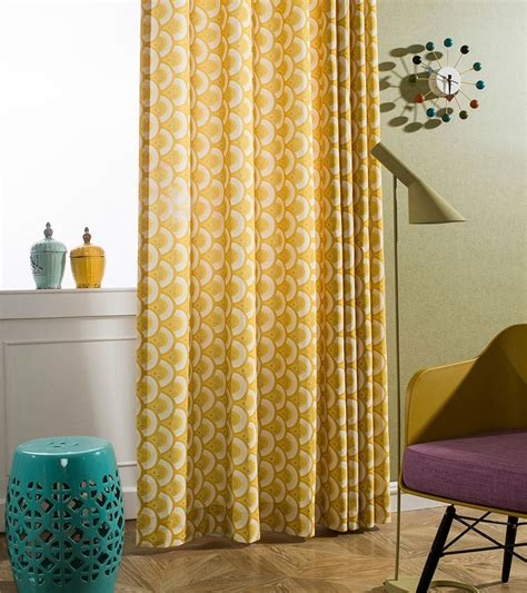 yellow cotton curtains bedroom curtains pastoral printed window decoration