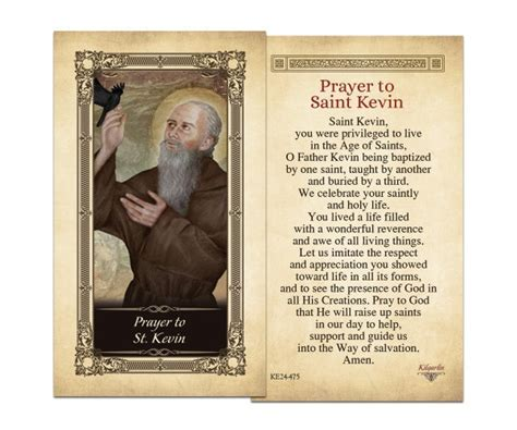 Laminated Holy Cards : St. Kevin Laminated Holy Card