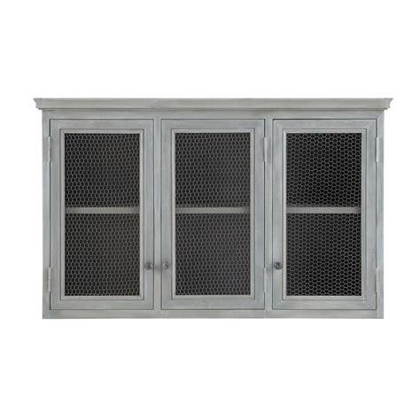 meuble haut de cuisine en bois d acacia gris l 120 cm zinc
