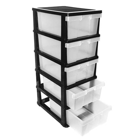 5 drawer plastic storage organiser sales